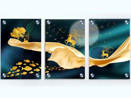 איילים שלישיית תמונות זכוכית